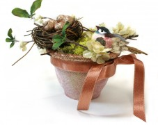Glittery Bird Nests in Clay Pots