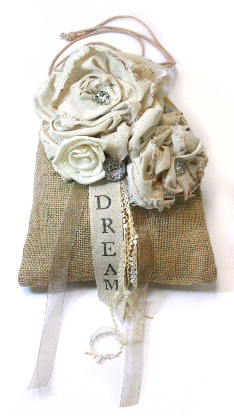 Rose Burlap Bag