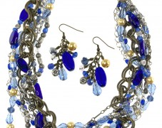 Sparkling Multi-strand Blue Bead Necklace and Earrings