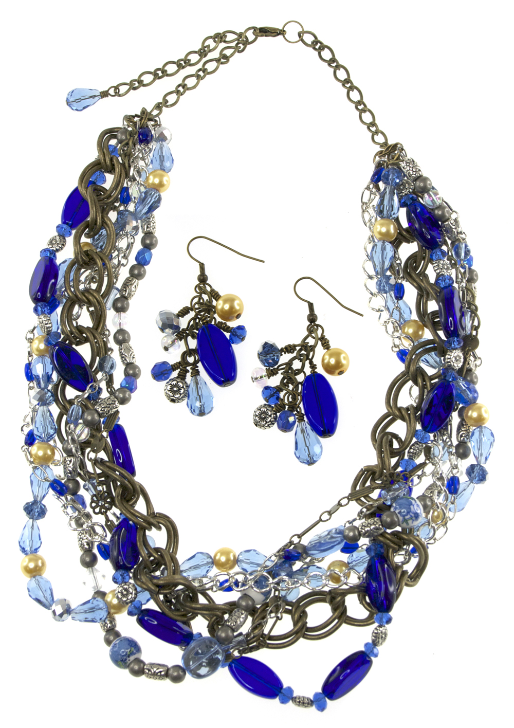 Lovely Multi-strand Necklace with Chain and Tons of Blue Glass Beads,