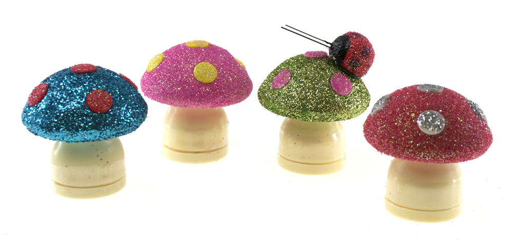 Pencil Sharpener Mushrooms from Target covered with Glitter!
