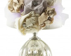 Vintage Style Mercury Glass Lamp with Fabric Roses