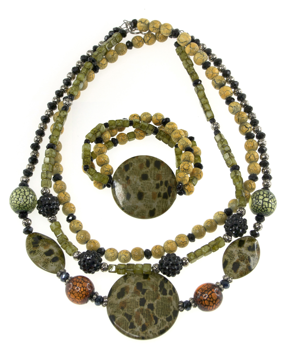 Summery Safari Style Necklace and Bracelet Set, designed by Jess Danos