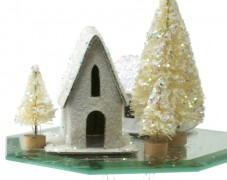 Winter Scene on Glass Pedestal