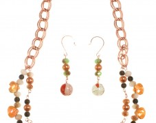 Rose Gold Orange Necklace Set