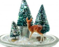 Trees with Deer on Pedestal