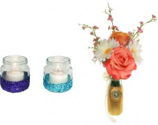 Glittered Votives & Medallion Vase