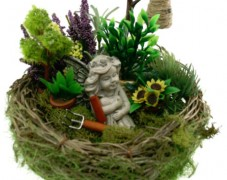 Fairy Garden in Bird Nest