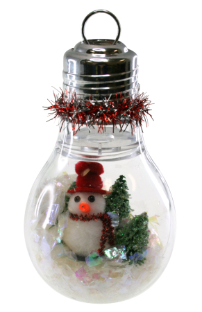 Lightbulb snowman ornament sparrow innovations for Clear plastic craft ornaments michaels