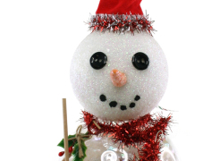 Glass Snowman Glitter Ornament