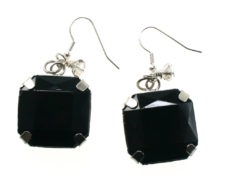 Black Square Gem Earrings